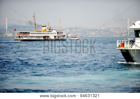 Big Cruise Ship On Bosphorus Strait