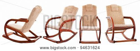 Collage of rocking-chair isolated on white