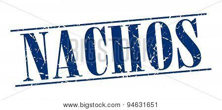 Nachos Blue Grunge Vintage Stamp Isolated On White Background