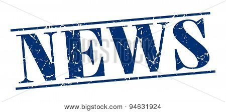 News Blue Grunge Vintage Stamp Isolated On White Background