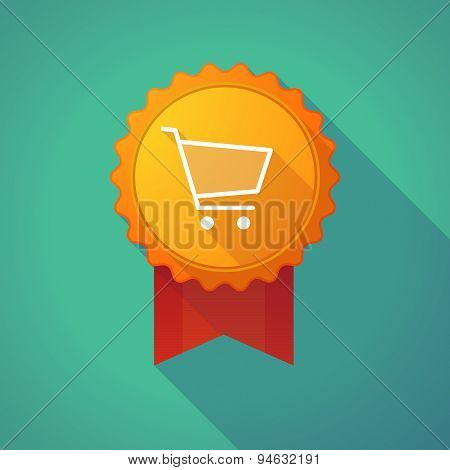 Long Shadow Badge With A Shopping Cart