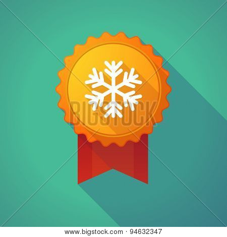 Long Shadow Badge With A Snow Flake