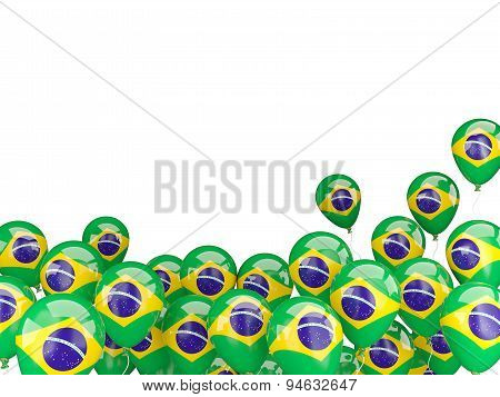 Flying Balloons With Flag Of Brazil