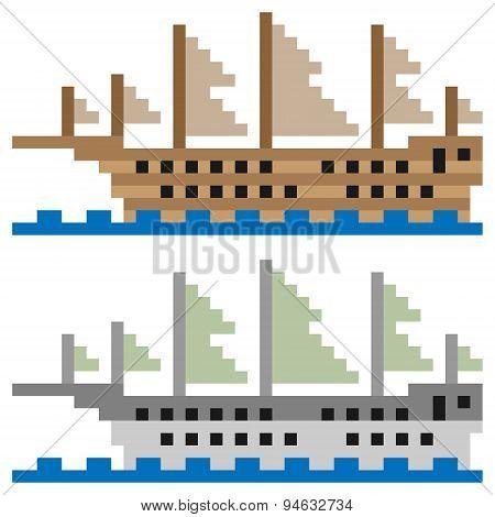 illustration pixel art ship sail