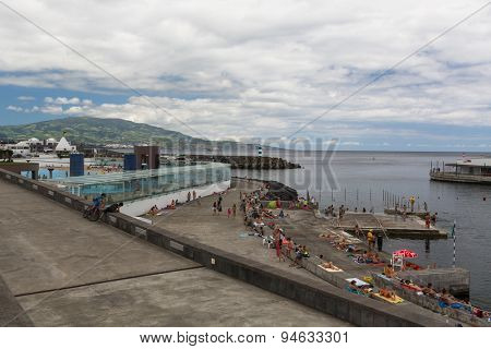 PONTA DELGADA, PORTUGAL - JUN 15, 2015: View of the Sea Port of Ponta Delgada (Azores). City is located on Sao Miguel Island (232.99 km2) Region capital under the revised constitution of 1976.