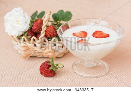 Yogurt With Strawberry In Glass Bowl