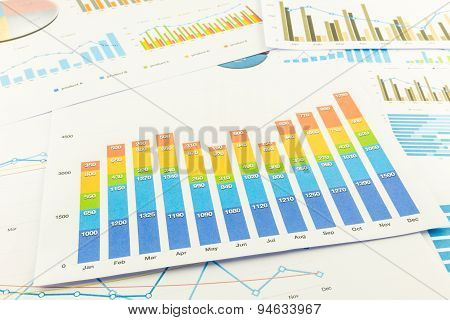 Colourful Bar Graph And Business Charts