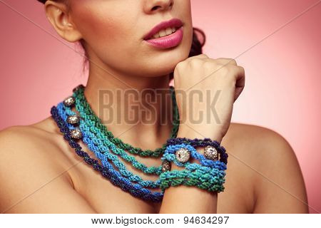 Colorful Necklace On Woman