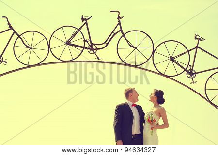 Bride And Groom Under A Iron Arch In A Bicycle Form