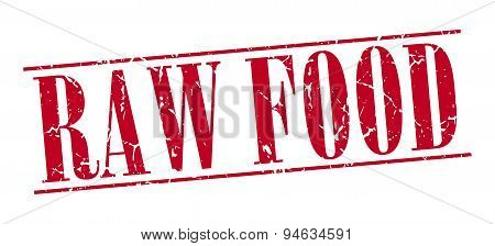 Raw Food Red Grunge Vintage Stamp Isolated On White Background
