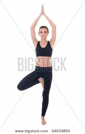 Beautiful Woman Doing Yoga In Tree Pose Isolated On White