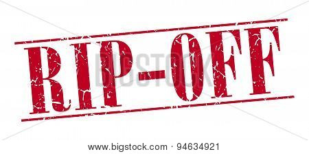 Rip-off Red Grunge Vintage Stamp Isolated On White Background