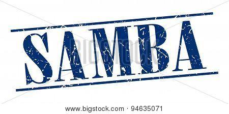 Samba Blue Grunge Vintage Stamp Isolated On White Background