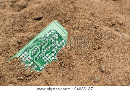 Buried Pcb Board In Brown Sand
