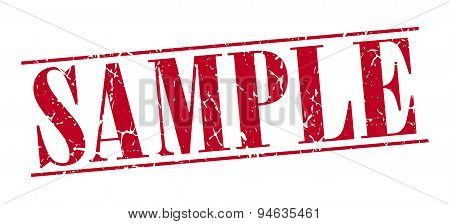 Sample Red Grunge Vintage Stamp Isolated On White Background