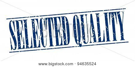 Selected Quality Blue Grunge Vintage Stamp Isolated On White Background