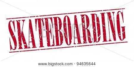 Skateboarding Red Grunge Vintage Stamp Isolated On White Background