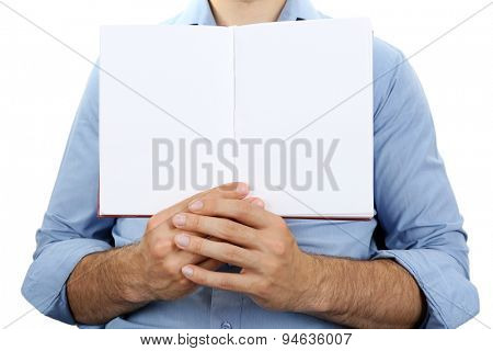 Man holding book close up
