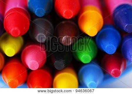 Colorful pastel crayons, closeup