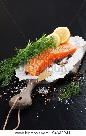 Delicious salmon fillet, rich in omega 3 oil
