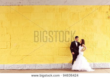 Bride And Groom Against Yellow Wall