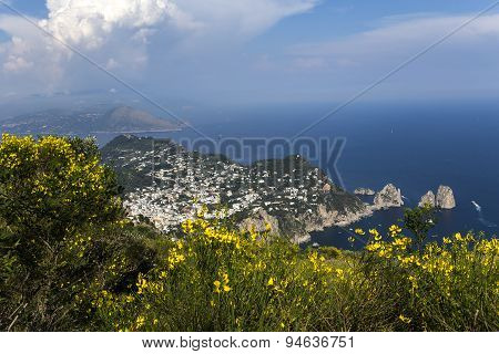 Panorama Of Capri Island From Monte Solaro, In Anacapri
