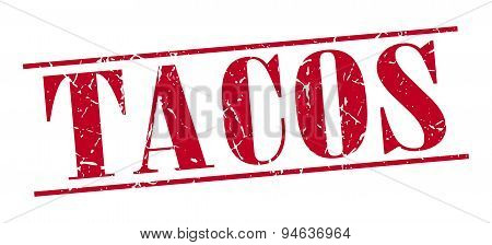 Tacos Red Grunge Vintage Stamp Isolated On White Background