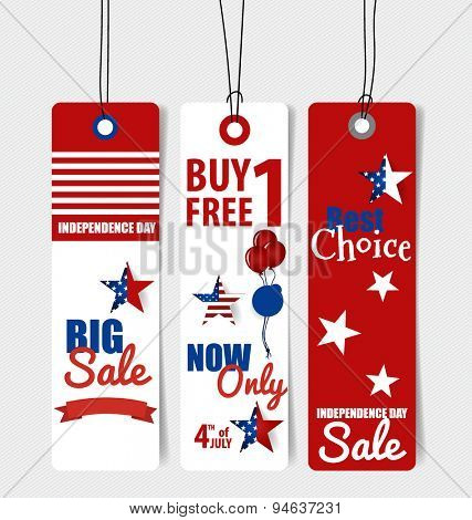 4 th of July. Happy independence day Sale Coupon, voucher, tag. Vector Illustration.