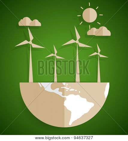 Ecology concept. Paper cut of globe and turbine on green background. Vector illustration.