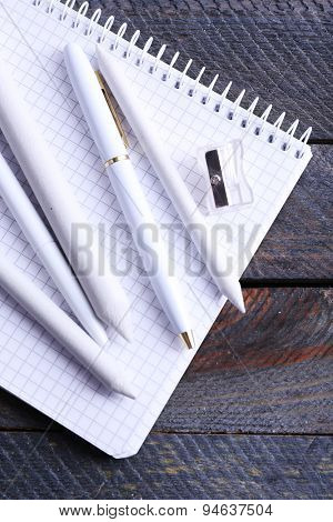 White stationery on wooden table, closeup