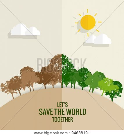 ECO FRIENDLY. Ecology concept with tree background. Vector illustration.