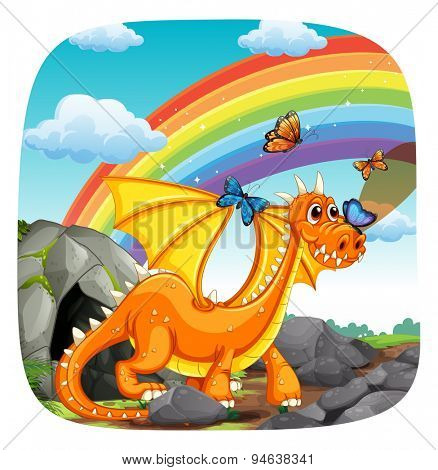 Poster of a dragon standing with rainbow and butterfly in the background