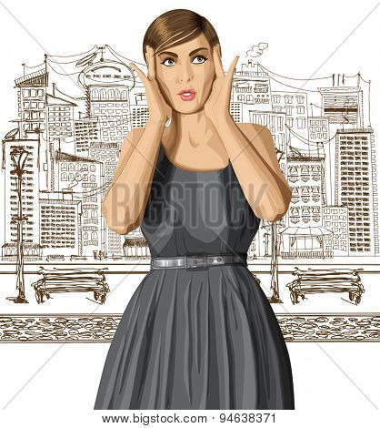 vector girl in dress, surprised and looking up, walking by the city