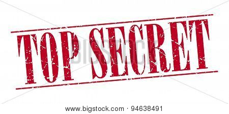 Top Secret Red Grunge Vintage Stamp Isolated On White Background