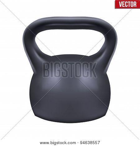 Black weight kettlebell. Vector.