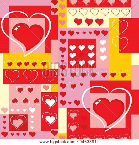 Seamless Background With Hearts And Cubes.