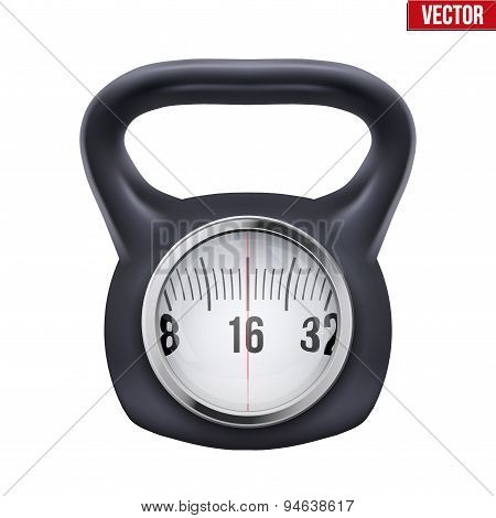 Black weight kettlebell with scale display. Vector.