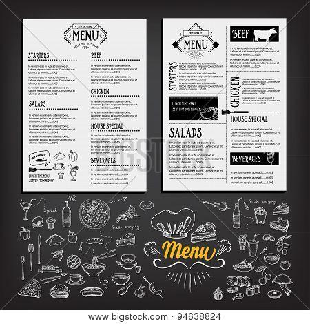 Food Menu, Restaurant Template Design. Flyer Cafe. Brochure Vintage. Cook Idea.