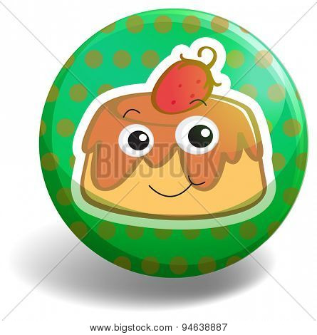 Green circular badge with a strawberry custard cake on it