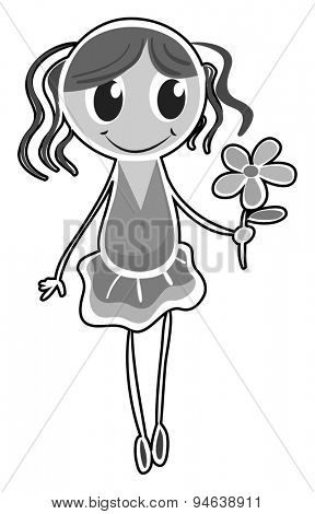 Black and white sketch of a girl holding a flower