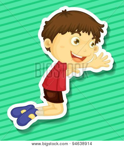 Sticker of a boy kneeling on the trying to reach out for something
