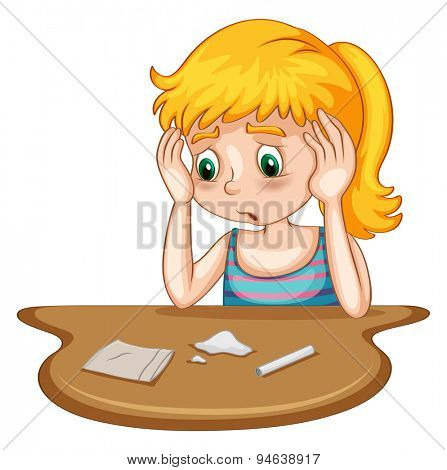 Poster of a girl doing drug with drugs and tools on the table