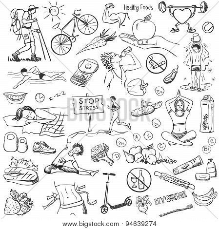 Hand drawn about healthy lifestyle on white background.