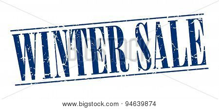 Winter Sale Blue Grunge Vintage Stamp Isolated On White Background