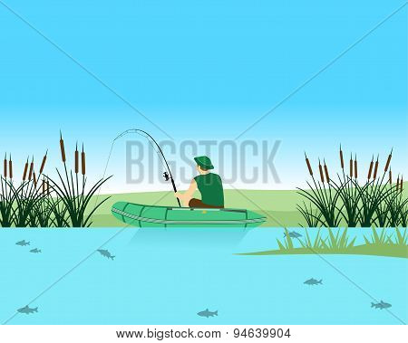 Fisherman catches a fish in the lake on the Spinning. Vector illustration