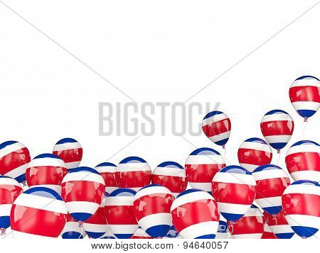 Flying Balloons With Flag Of Costa Rica