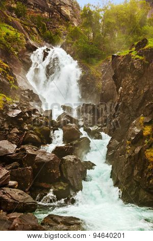 Famous waterfall Laatefossen in Hardanger Norway - nature and travel background