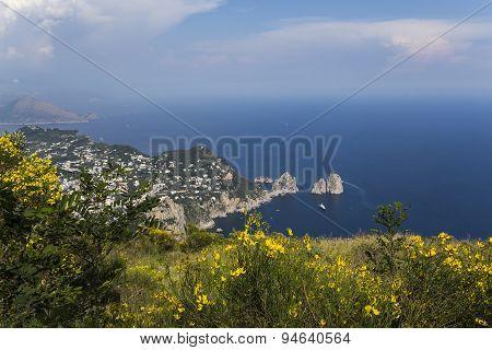 Panorama Of Capri Island From Monte Solaro, In Anacapri