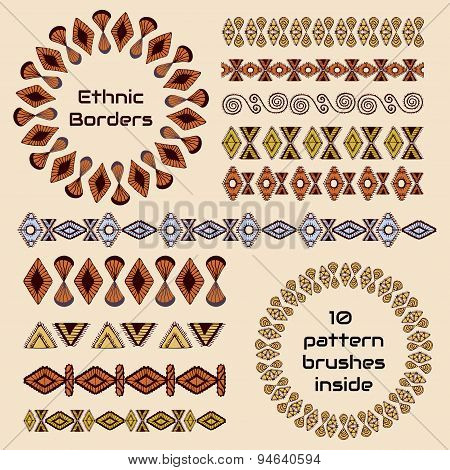 Set Of Borders In Ethnic Style
