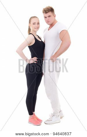 Full Length Portrait Of Young Sporty Man And Woman In Sportswear Isolated On White